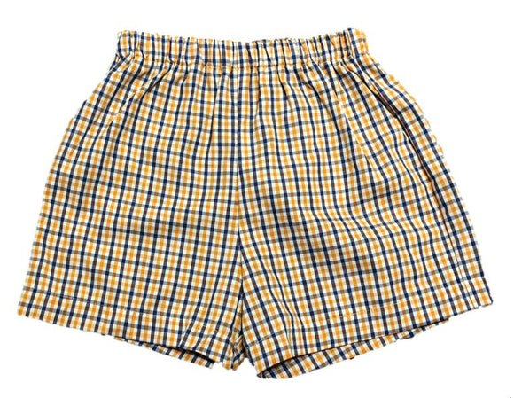 Orange/Navy Gingham Shorts
