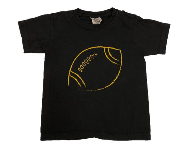 Short-Sleeve Black/Gold Football T-Shirt