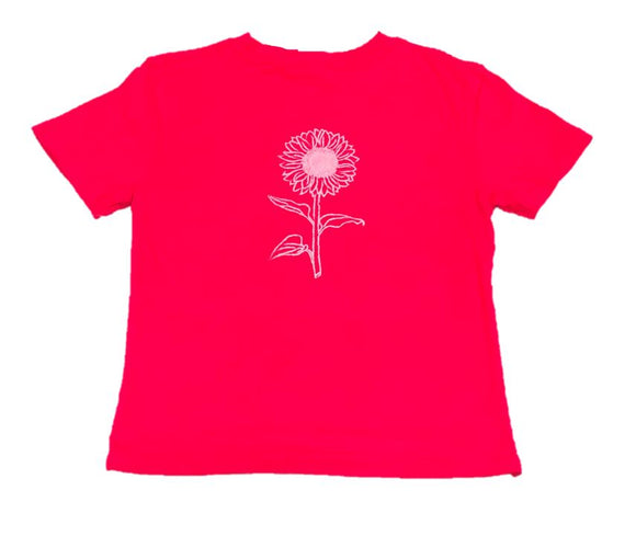 Short-Sleeve Pink Sunflower T-Shirt