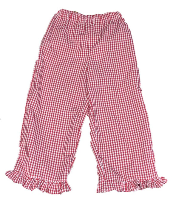 Red/White Ruffled Gingham Pants