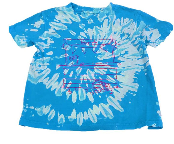 Short-Sleeve Blue Tie Dyed Lemonade Stand T-Shirt