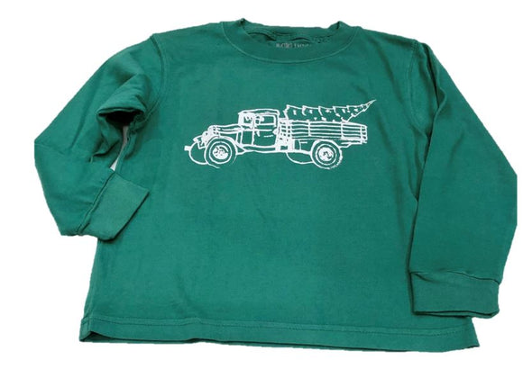 Long-Sleeve Green Christmas Truck T-Shirt