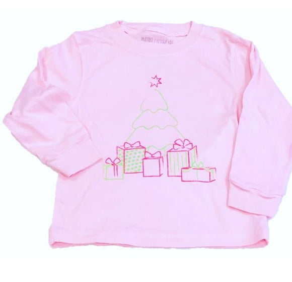 Long-Sleeve Light Pink Christmas Tree T-Shirt