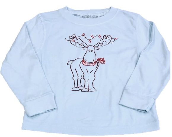 Long-Sleeve Light Blue Holiday Moose T-Shirt