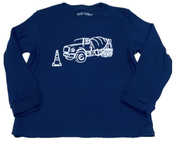 Long-Sleeve Navy Cement Truck T-Shirt