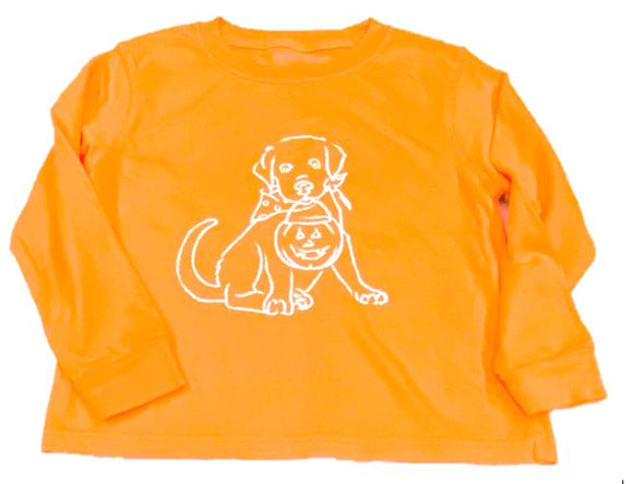Long-Sleeve Orange Halloween Puppy T-Shirt