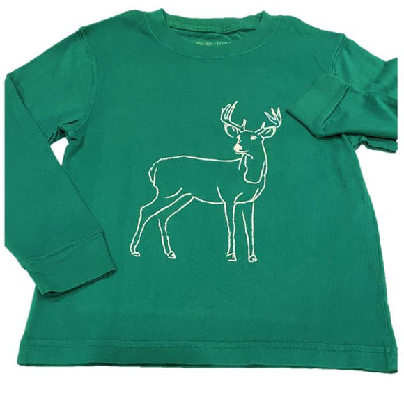 Long-Sleeve Green Deer T-Shirt