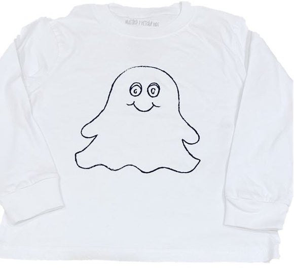 Long Sleeve White Boy Ghost T-Shirt