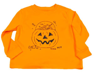 Long-Sleeve Orange Pumpkin Candy Bucket T-Shirt