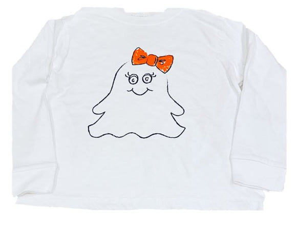 Long Sleeve White Ghost Girl T-Shirt