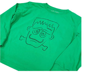 Long-Sleeve Green Frankenstein T-Shirt