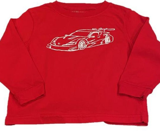 Long-Sleeve Red Race Car T-Shirt