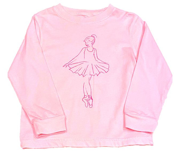 Long-Sleeve Light Pink Ballerina T-Shirt