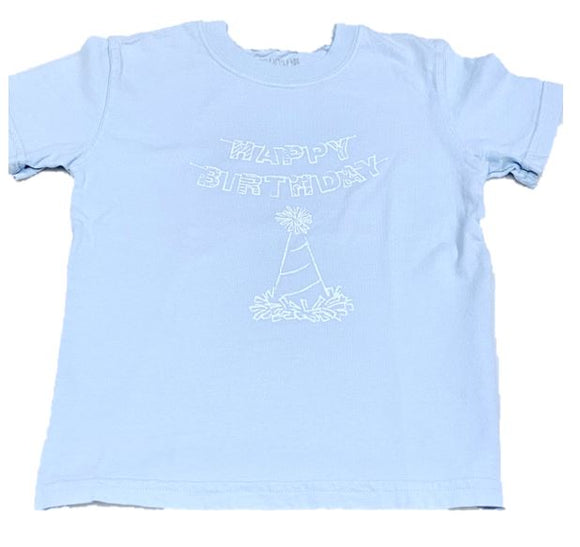 Short-Sleeve Light Blue Birthday Hat T-Shirt