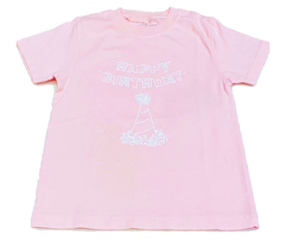 Short-Sleeve Light Pink Birthday Hat T-Shirt