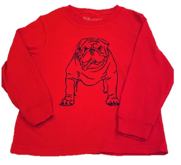 Long-Sleeve Red/Black Bulldog T-Shirt