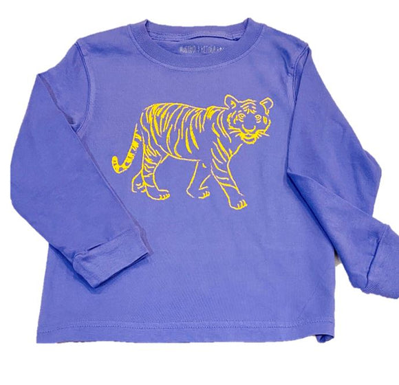 Long-Sleeve Purple Standing Tiger T-Shirt