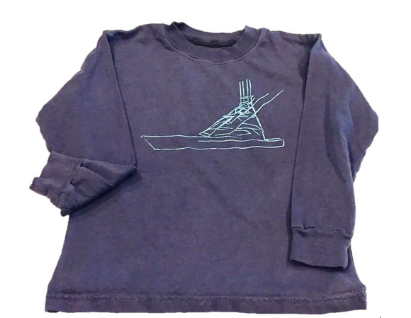 Long-Sleeve Navy/Blue Sport Fishing Boat T-Shirt