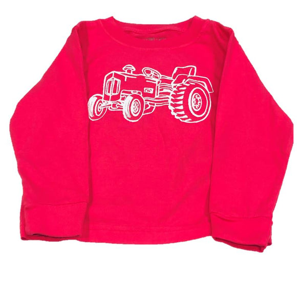 Long-Sleeve Pink Tractor T-Shirt