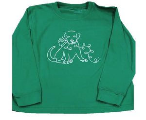 Long-Sleeve Dark Green Christmas Lab T-Shirt