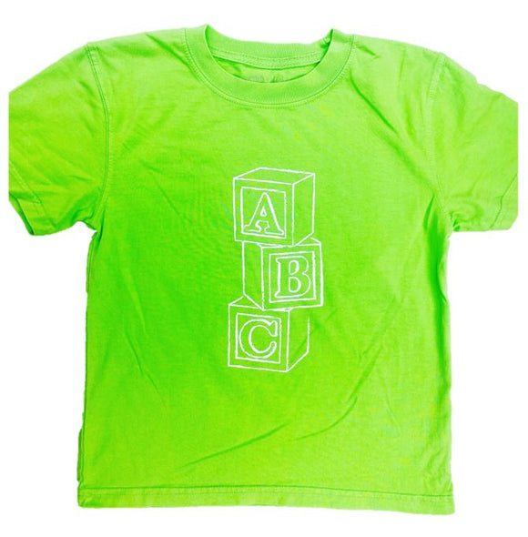Short-Sleeve Lime Green ABC Blocks T-Shirt
