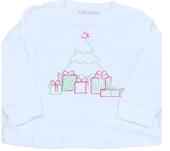 Long-Sleeve Pink & Lime Christmas Tree T-Shirt