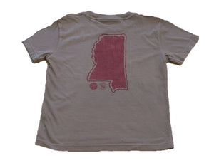 Short-Sleeve Gray/Maroon State of Mississippi T-Shirt