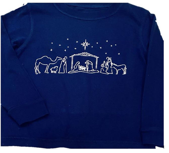 Long-Sleeve Navy Nativity T-Shirt