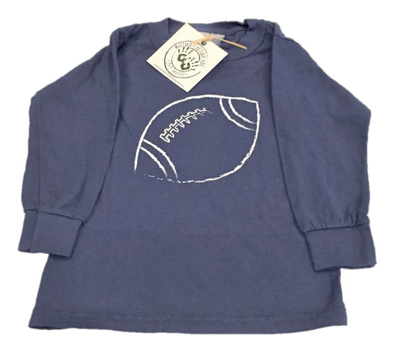 Long-Sleeve Navy/White Football T-Shirt