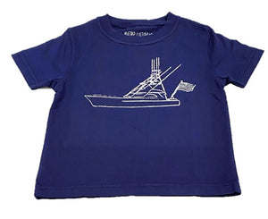 Short-Sleeve Navy Sport Fishing Boat with Flag T-Shirt