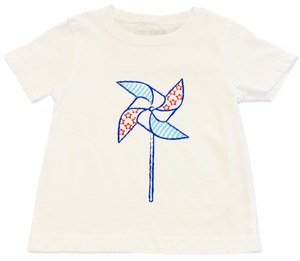 Short-Sleeve White Pinwheel T-Shirt