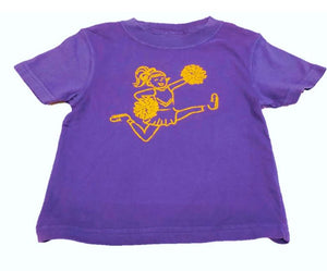 Short-Sleeve Purple/Yellow Gold Cheerleader T-Shirt