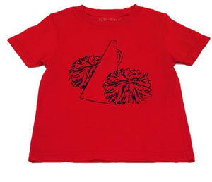 Short Sleeve Red/Black Pom Pom T-shirt