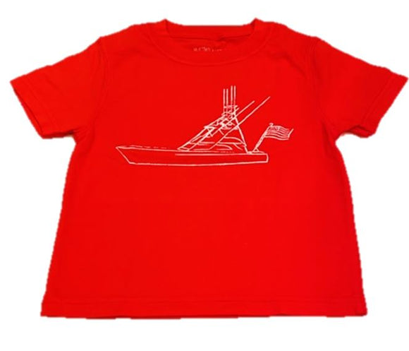 Short-Sleeve Red Sport Fishing Boat with Flag T-Shirt