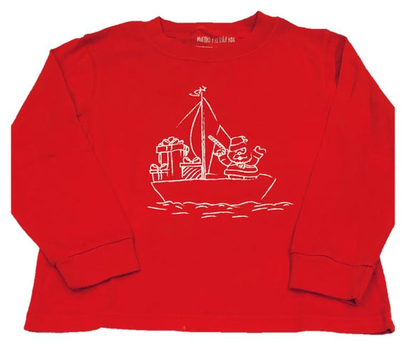 Long-Sleeve Red Sailing Santa T-Shirt