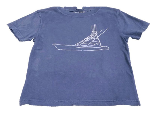 Short- Sleeve Washed Denim Sport Fishing Boat T-Shirt