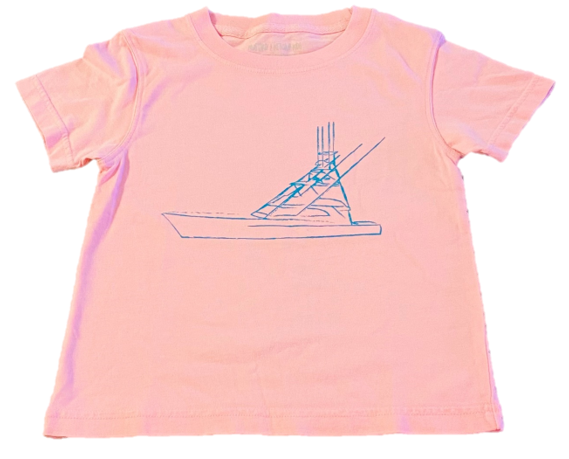 Short-Sleeve Light Pink/Aqua Sport Fishing Boat Tee