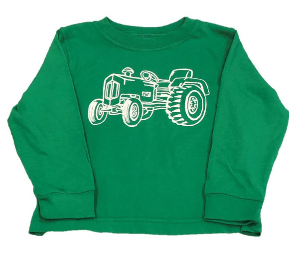 Long-Sleeve Green Tractor T-Shirt