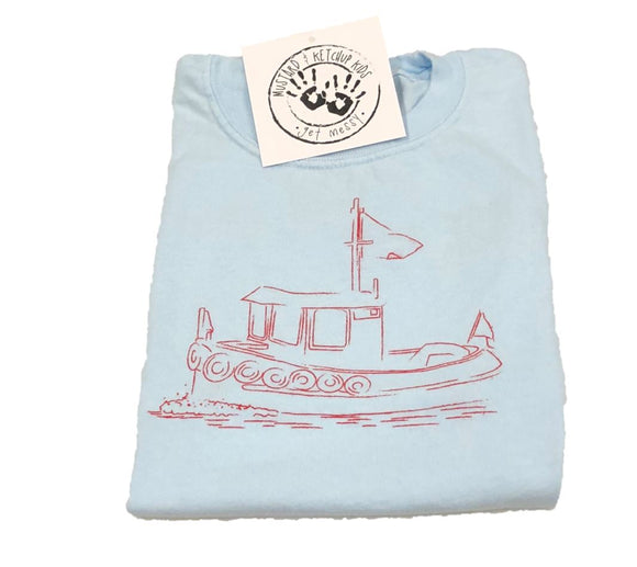 Short-Sleeve Light Blue Tugboat Tee
