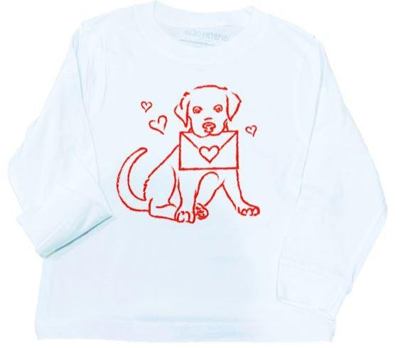 Long-Sleeve White/Red Valentine Lab Pup T-Shirt