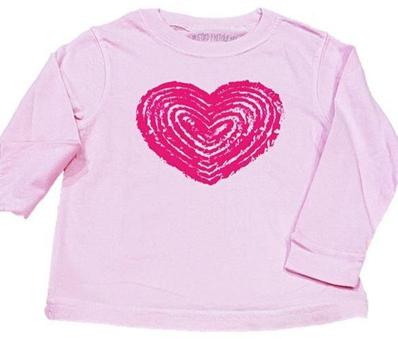 Long-Sleeve Light Pink/Pink Heart T-Shirt