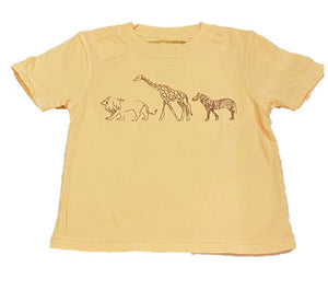 Short-Sleeve Yellow Safari Animals T-Shirt