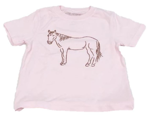 Short-Sleeve Light Pink Horse T-Shirt
