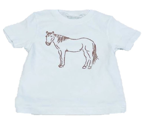 Short-Sleeve Light Blue Horse T-Shirt