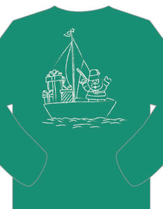 Long-Sleeve Green Sailing Santa T-Shirt