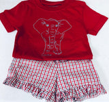 Short-Sleeve Crimson/Gray Elephant T-Shirt