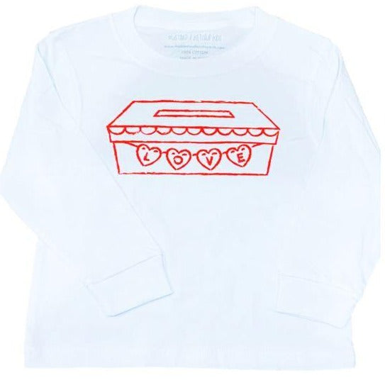Long-Sleeve White/Red Valentine Mailbox T-Shirt