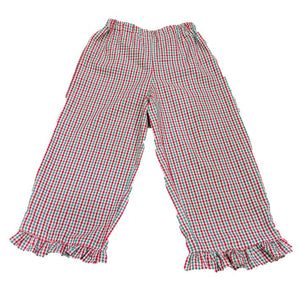 Red/Green Ruffled Gingham Pants