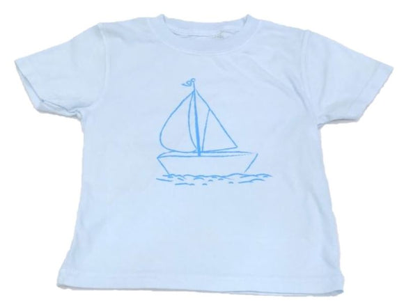 Short-Sleeve Light Blue Sailboat T-Shirt