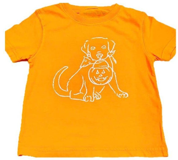 Short-Sleeve Orange Halloween Puppy T-Shirt
